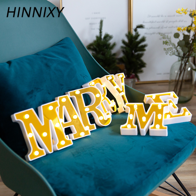 Hinnixy Golden 26 Letter Night Light Marquee Sign Alphabet Letter Lamp Home Club LED Indoor Party Wedding Romantic Decoration