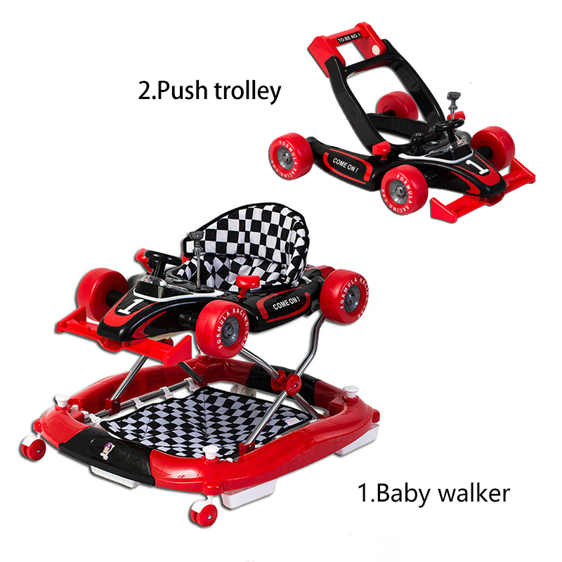 Anti-rollover Multi-function Walker Folding Baby Stroller Children Walke Rwith Music Easy Folding Trolly 6-18month