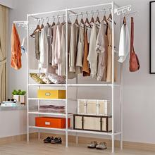 Multifunctional Garment Rack Metal Clothes Coat Shoe Storage Shelf Practical Clothes Drying Hanger Clothes Stand (White)
