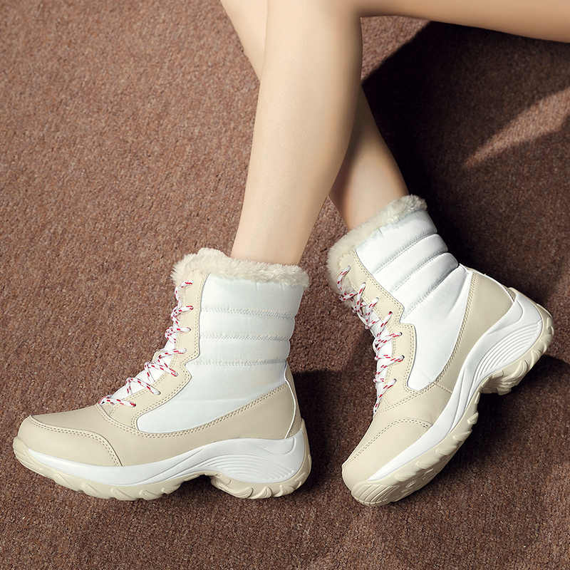 2020 Winter Snow BOOTS รองเท้าผู้หญิงข้อเท้ารองเท้าแพลตฟอร์มสีขาว Wedges รองเท้าผู้หญิง Rain BOOTS WARM Plush Lace Up Botas Botines mujer