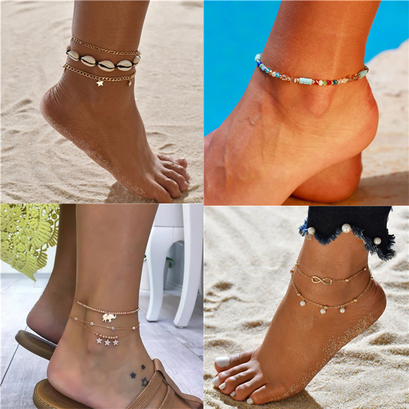 2020 Hot Sale Summer Jewelry 18 Style Bohemian Women Anklets Beach Accessories Natural Shell Beads Ankle Bracelet Gift