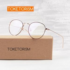 Image 1 - Toketoryzm okulary blokujące niebieskie światło komputerów metalowa rama okrągłe okulary dla kobiet i mężczyzn 580
