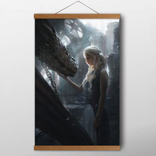 Daenerys Targaryen Game of Thrones Wall Art Posters Canvas prints art Solid Wood Scroll Paintings For Living Room Decor(China)