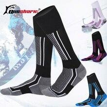 Мужские, женские, детские длинные Лыжные носки, зимние теплые чулки для сноуборда, пешего туризма, катания на велосипеде, толстые хлопковые термо-носки