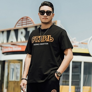 Large size men's summer short-sleeved T-shirt plus increase tide fat man  guy casual loose half sleeve 6xl130kg catty handsome