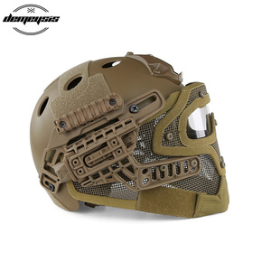 Image 3 - TAN Tactical Helmet with Mask Airsoft Helmet Paintball Fullface Protective Face Mask Helmet for Sports CS Military Helmet