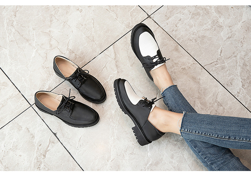 2020 British Style Soft Leather Women Flats Oxfords Black White Flat Oxford Shoes For Woman Round Toe Student Brogue Shoes (23)
