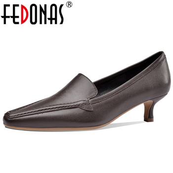 FEDONAS Women Cow Leather Shoes Pointed Toe Thick Heel 2020 Spring New Euro Style Retro Concise Casual Slip-On Shoes Woman
