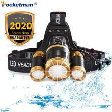 6000 Lumen LED Head Torch Motion Sensor Headlight Rechargeable Bright LED Headlamp Zoomable For Hard Hat Camping Running Fish