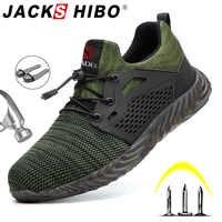 Jackshibo chaussures de sécurité bottes pour hommes mâle automne respirant chaussures de travail en acier orteil Indestructible sécurité travail bottes baskets