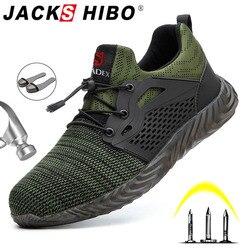 Jackshibo zapatos de seguridad zapatos botas para hombres otoño transpirable zapatos de trabajo zapatos de punta de acero de Indestructible de trabajo de seguridad botas de deporte