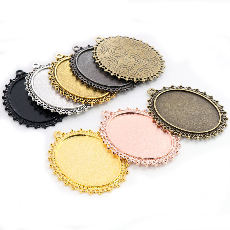 5pcs 30x40mm Inner Size Antique Silver/Gold Plated Bronze 7 Colors Pierced Style Cabochon Base Setting Charms Pendant