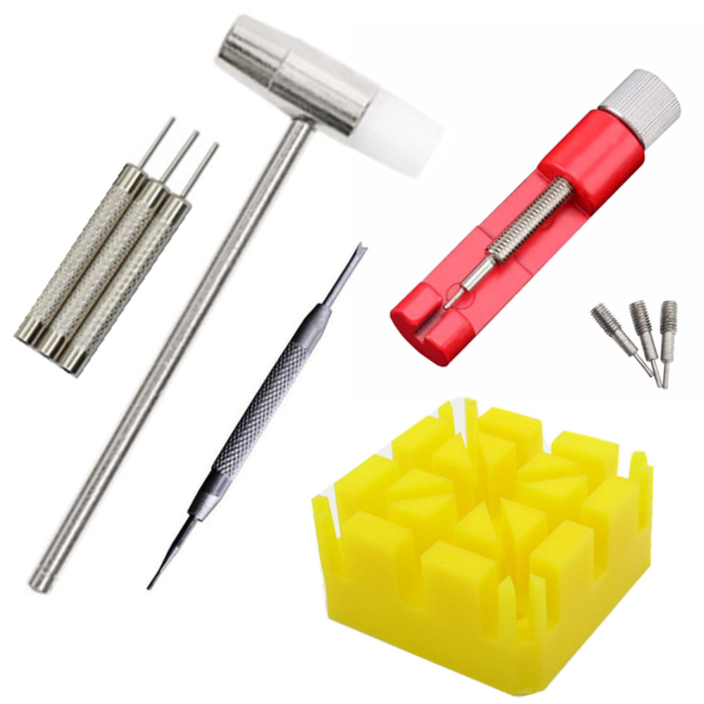 10pcs/set Watch Repair Link Remover Tool Hammer Pins Strap Holder Bracelet Chain Adjuster Repair Tool Kit For Men/Women Watch