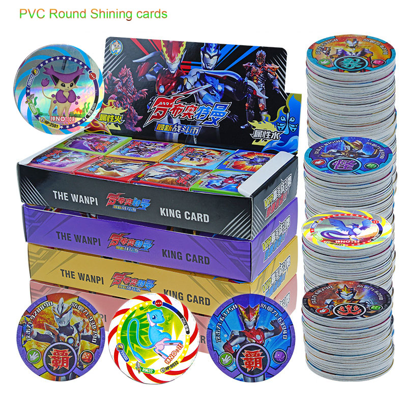Takara Pokemon Altman Ultraman Round Cards Identity PVC Shining Card Plastic Flash Cards For Kids Toys Christmas Gifts