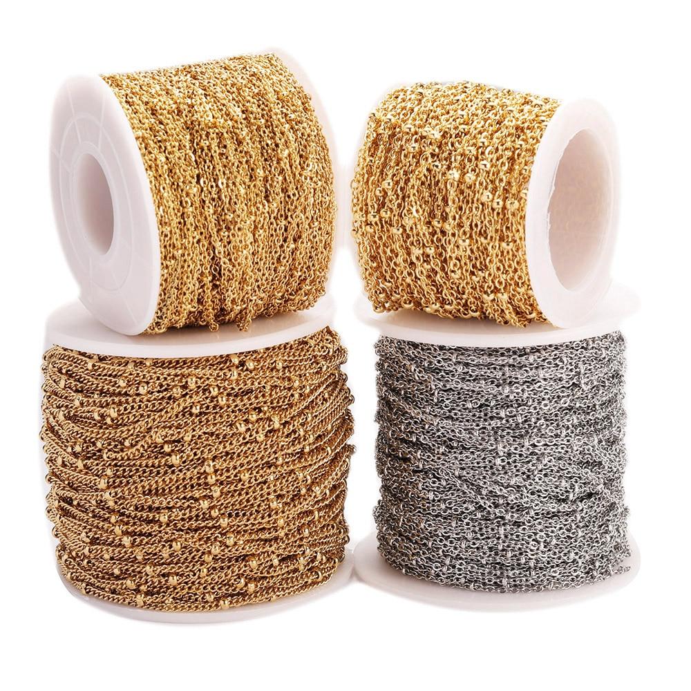 Silber Golden Flach Kette für Schmuck Machen Craft Liefert Neu 2.5//3.5//4.5 MM