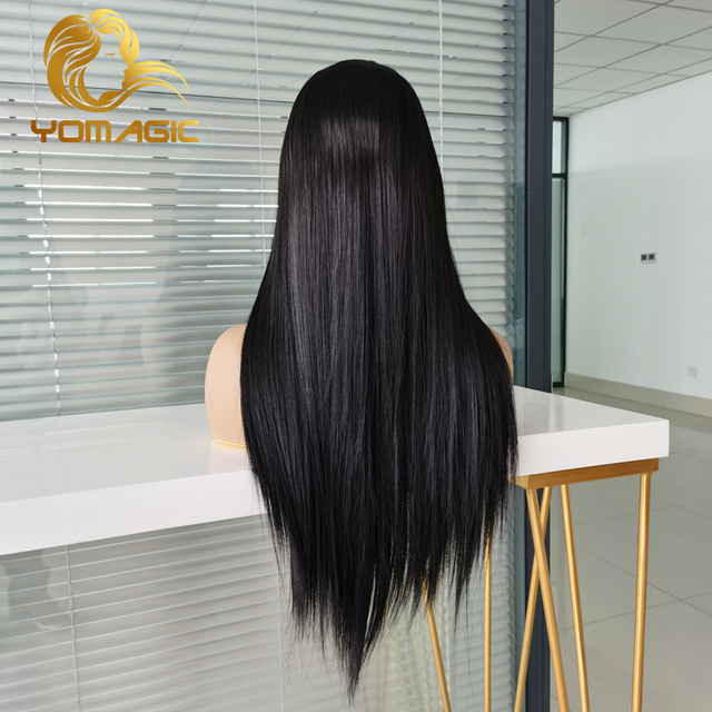 Yomagic-pelucas con encaje frontal para mujer, pelo sintético de Color negro, minimechones, liso, sin pegamento, prearrancado 5