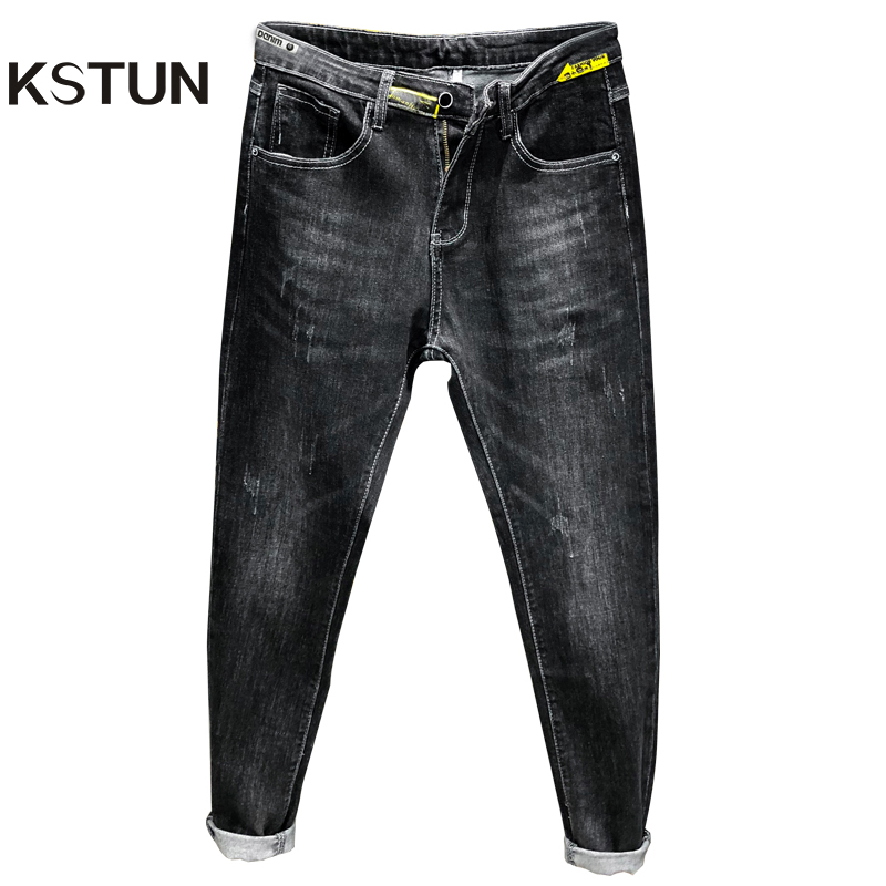 KSTUN Black Jeans Men Skinny Elastic Autumn And Winter Men Fashions Denim Pants Mens Jeans Brand Printed Cowboys Jeans Hombre