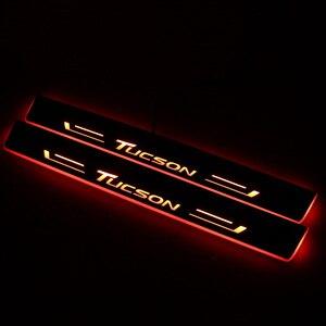 Image 3 - CARPTAH לקצץ חיצוני מכונית דוושת חלקי LED דלת אדן שפשוף צלחת מסלול סרט דינמי אור ליונדאי טוסון 2015  2018