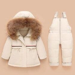 -30 درجة روسيا الشتاء مجموعة ملابس الطفل الرضع دعوى للطفل فتاة الصبي أسفل معطف وزرة سنوالبدلة 2 قطعة الاطفال الملابس مجموعة