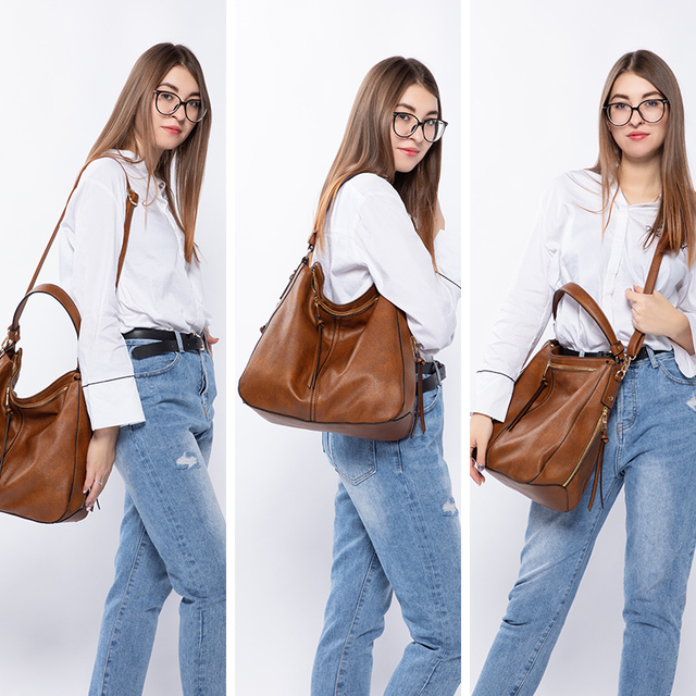 REALER handbags women shoulder crossbody bag female casual large totes high quality artificial leather ladies hobo messenger bag 2