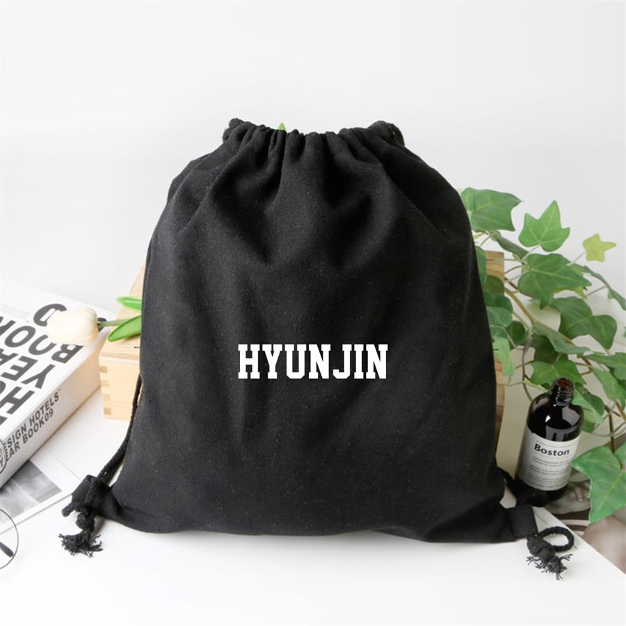 Kpop Straykids Durable And Environmental Rope Pulling Backpack SEUNG MIN FELIX Fashion Canvas Backpack Unisex Drawstring Bag
