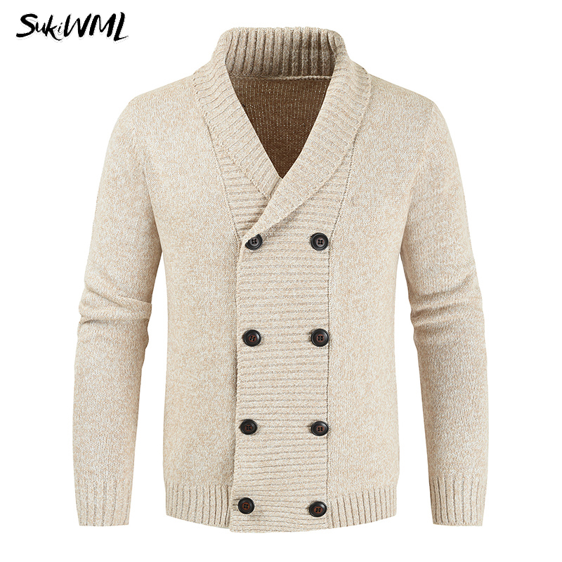 SUKIWML Sweater Mens 2019 Fashion Double-breasted Cardigan For Men Autumn Casual Knit  Sweater Coat Winter Men Cardigan Sweater