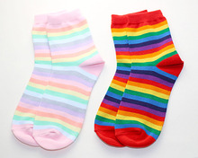 new women socks 1 pair  fashion lady autumn long cotton rainbow color striped printed novelty