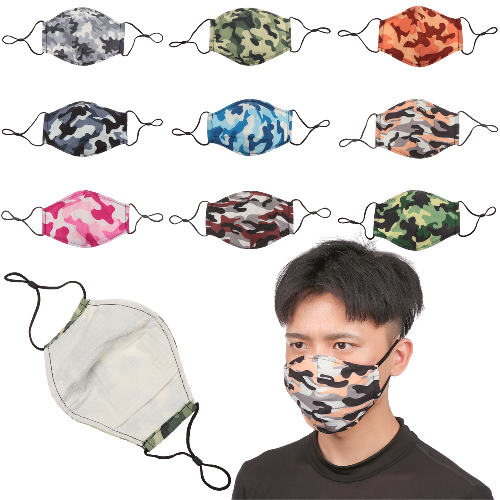 Camouflage Printed Face Mask Cotton Mouth Masks Fabric Adult PM 2.5 Anti Dust Mouth Cover Washable Reusable Mouth Mask