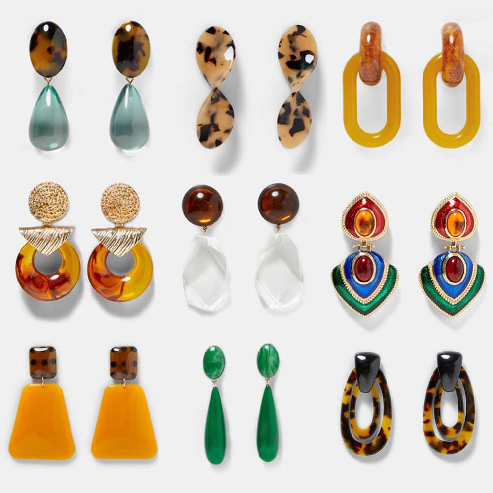 Bohemian Resina Brinco Pendente para Mulheres Étnica Declaração Dangle Brincos de Moda Clássico Anéis de Orelha Jóias Presente Do Partido Atacado