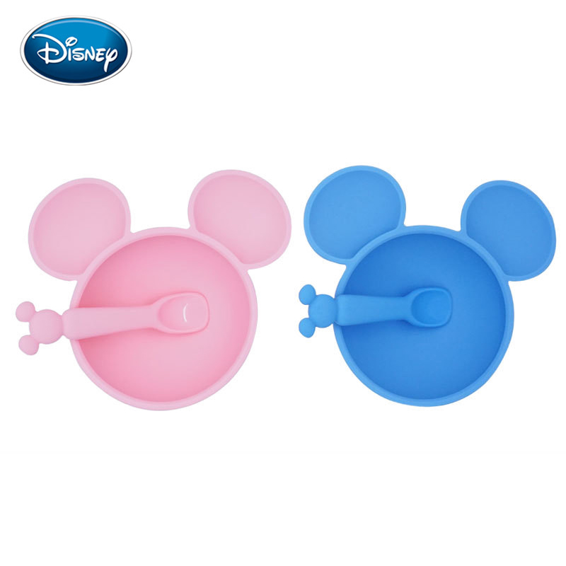 Disney Baby Cute Silicone Bowl + Spoon Cartoon Kids Bottom Suction Cuptraining Bowl Spoon For Children