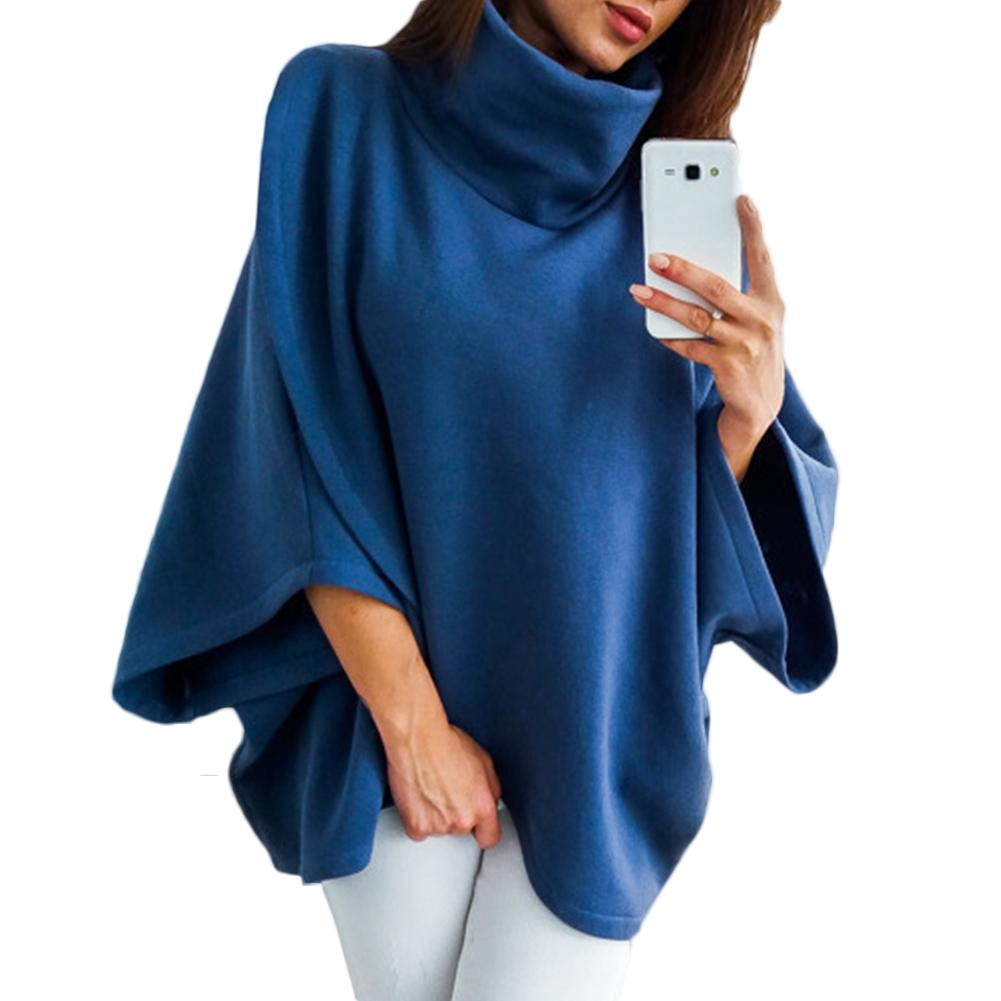 Winter Warm Women Solid Color Cloak Cape Turtle Neck Batwing Sleeve Poncho 2020 New Fashion Womens Top And Blouses