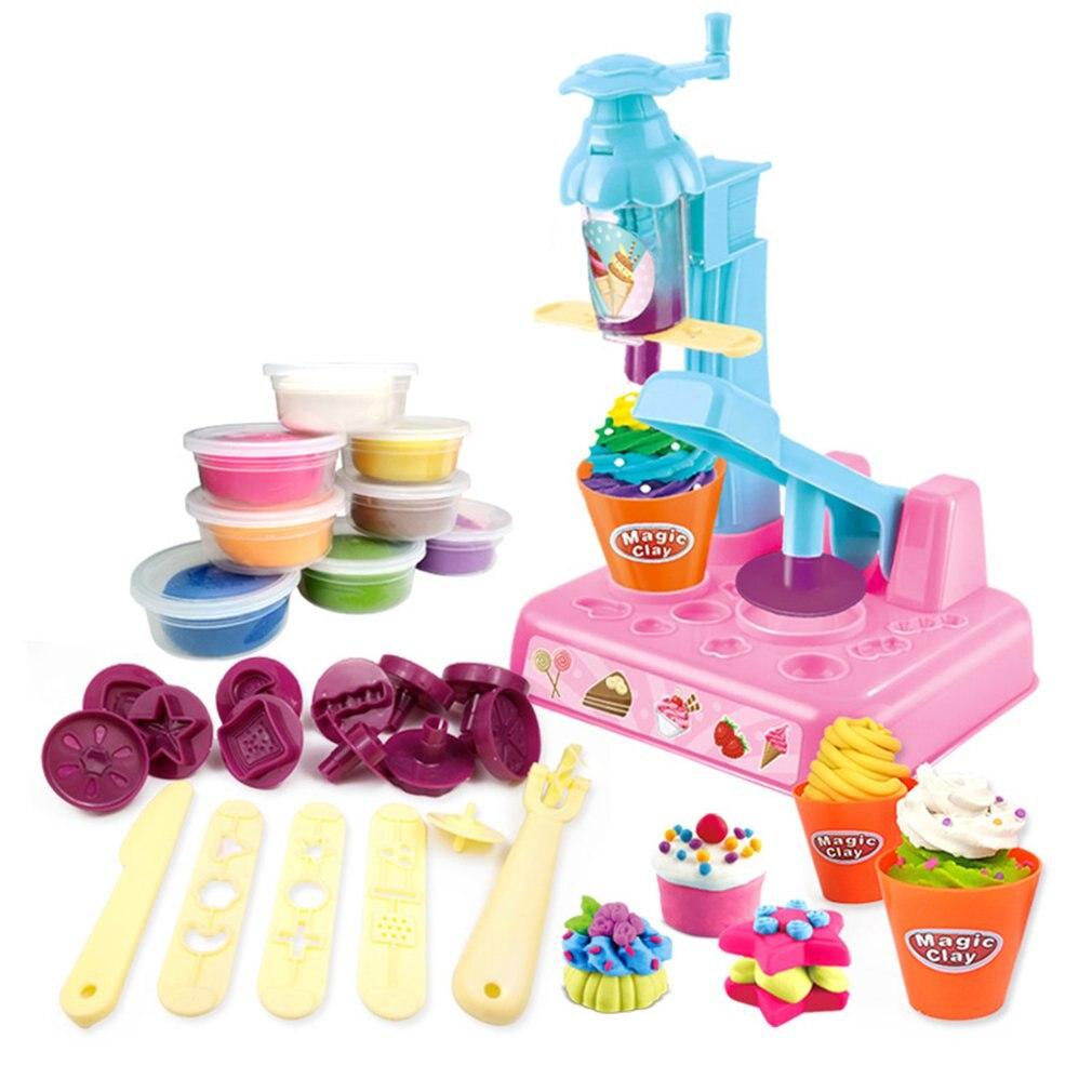 Children'S Plasticine Mold Ice Cream Set Ice Cream Pasta Machine Clay Toy Color Mud Manual Mud Parent-Child Interaction