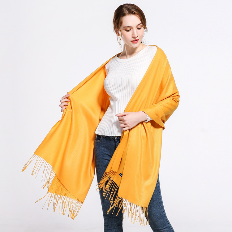 Solid Color Faux Cashmere Scarf Women's Europe And America-Style Tassels Shawl Annual General Meeting Logo Bright Red Scarf Cust
