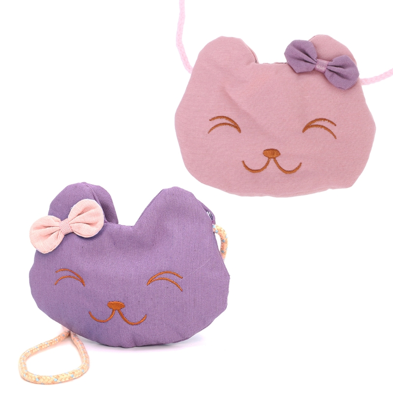 Cute Cartoon Cat Small Coin Purses Shoulder Bag For Children Kids Girls DXAE