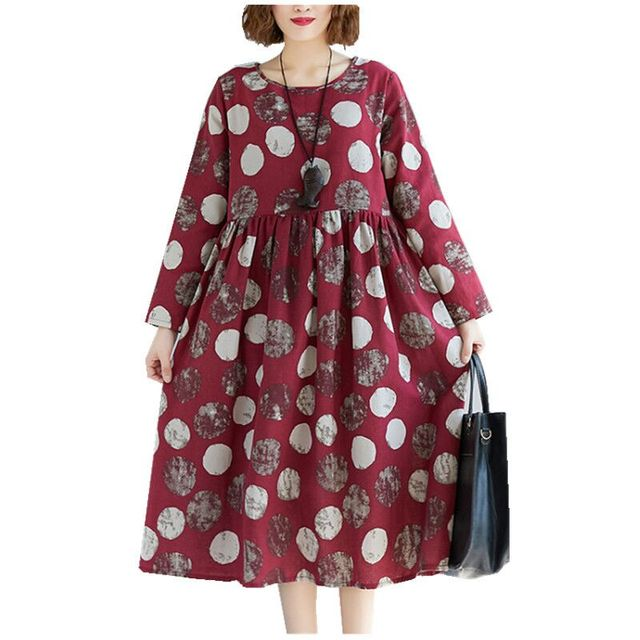 Cotton Linen Long Sleeve Autumn Dress Print Dot Loose Women Dress Plus Size Vintage Dress Female Spring Casual Midi Dress 3