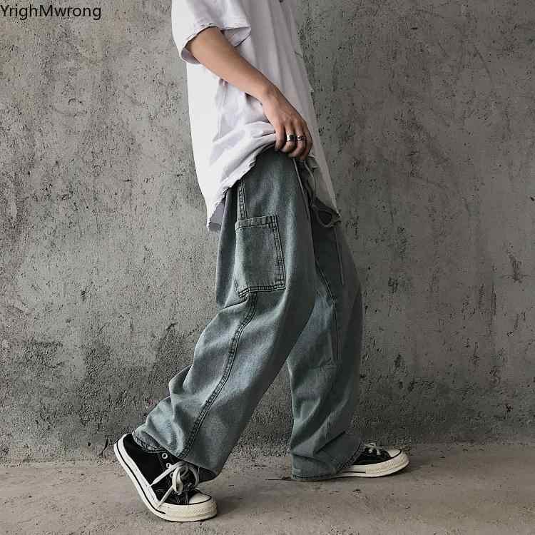 Bolsillo Lateral De Cintura Alta Suelto Recto Ancho Vintage Vaquero Liso Pantalones Mujer Pantalones Vaqueros De Hombre Hip Hop Plus Tamano Harajuku Streetwear Pantalones Vaqueros Aliexpress
