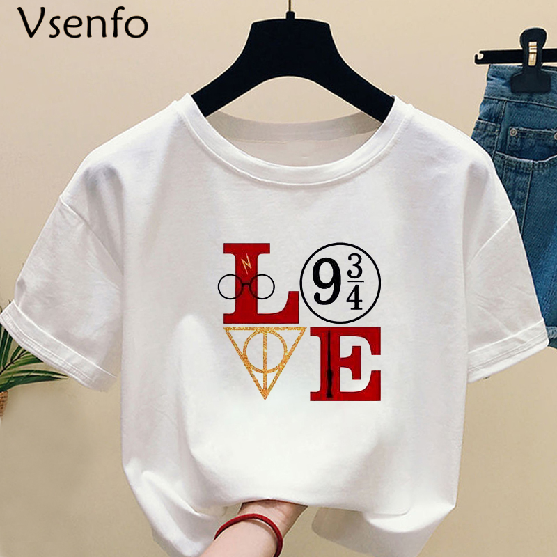 H5bbf986b53e34aaf95c75bd6b19d1824G - HP Love T Shirt Women Casual Summer Short Sleeve Women's T-shirts Unisex Print Harajuku Female Tees