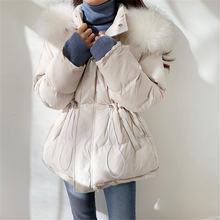 Женская зимняя куртка с меховым воротником теплая однотонная
