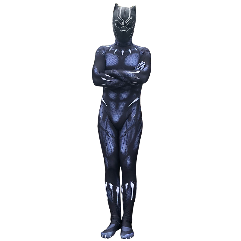 New 2018 Black Panther Costume Jumpsuits Boys Men  Movie Captain America Cosplay Male Clothing Bodysuit Halloween Costumes 5