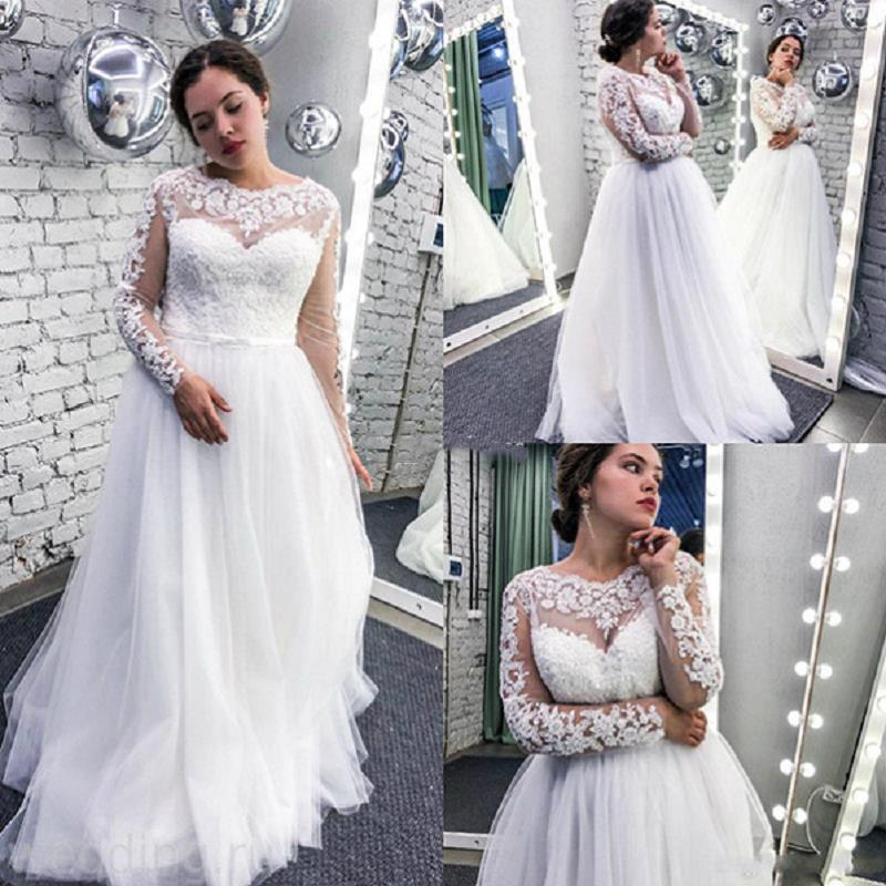 YiMinpwp Plus Size Wedding Dresses Long Sleeve Lace Up Back Sweep Train Appliques Illusion Garden Country Bridal Gowns