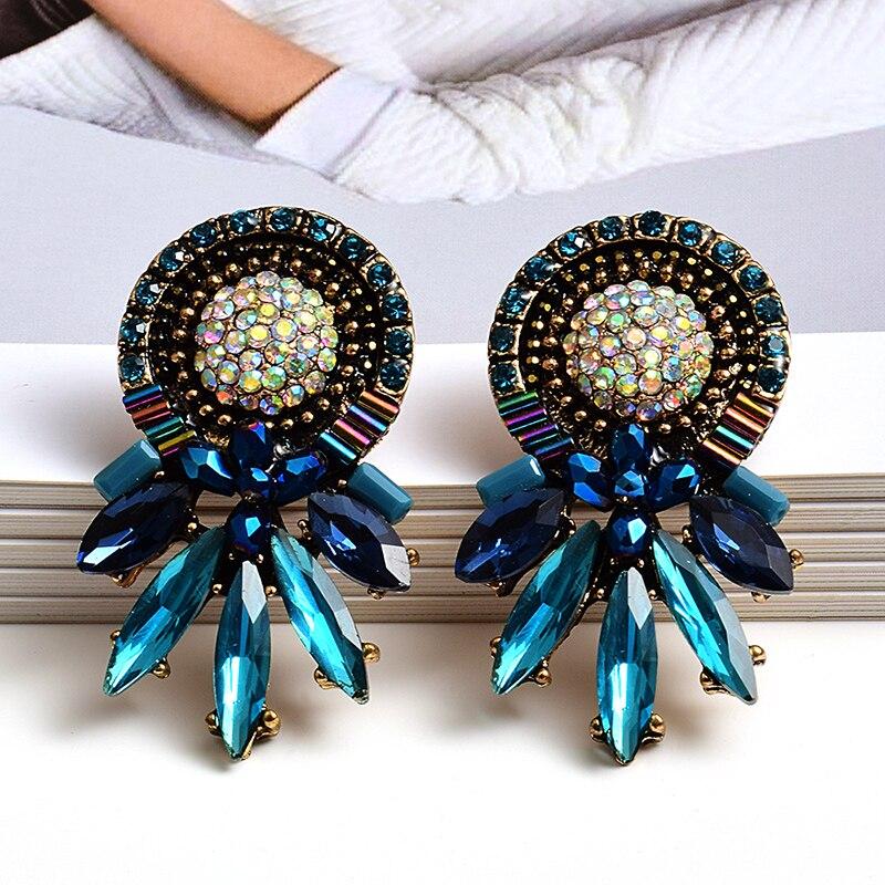 Оптовая продажа, цветные серьги с кристаллами, Женские Ювелирные изделия, высокое качество, Brincos Bijoux, модные трендовые Аксессуары для девоче...