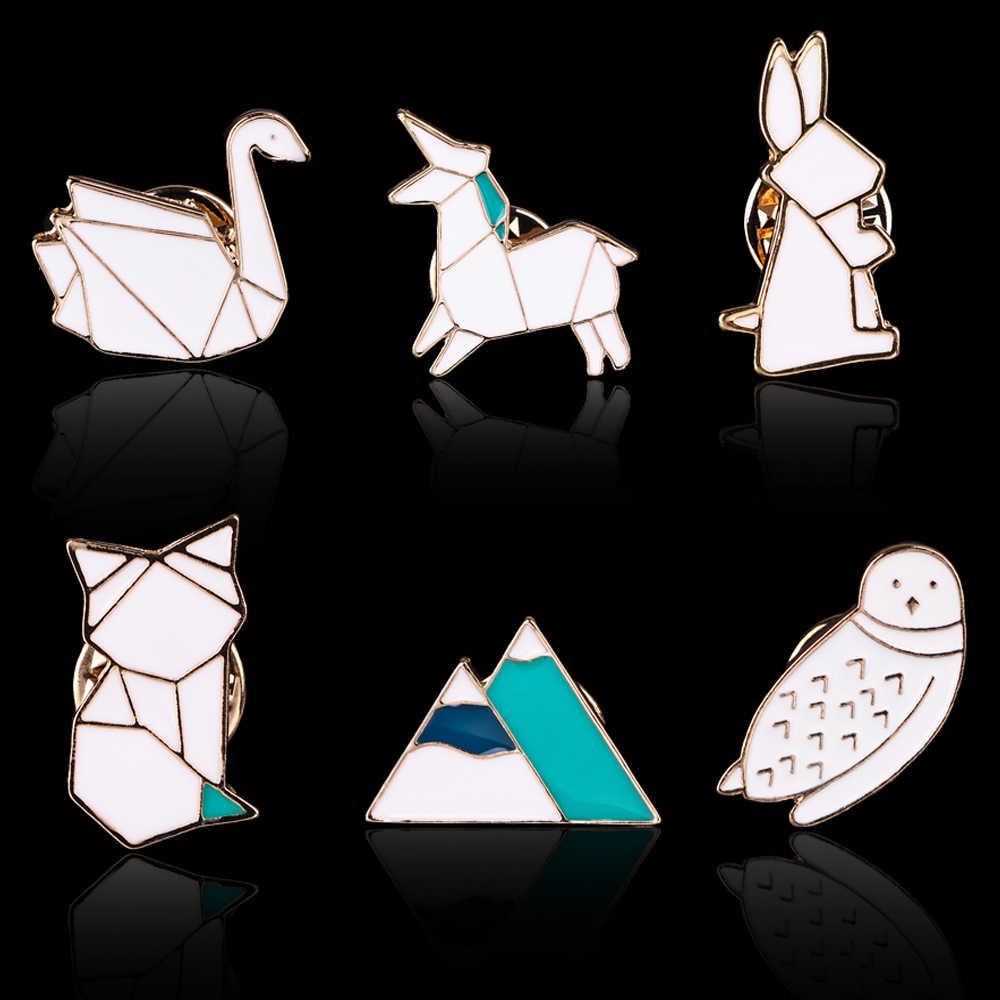 Carino Origami Coniglio Cavallo Volpe Cigno Iceberg Gufo Splicing Animale Smalto Spille Spilli Per Le Donne Degli Uomini Ragazze Abbigliamento Per Bambini Accessorie
