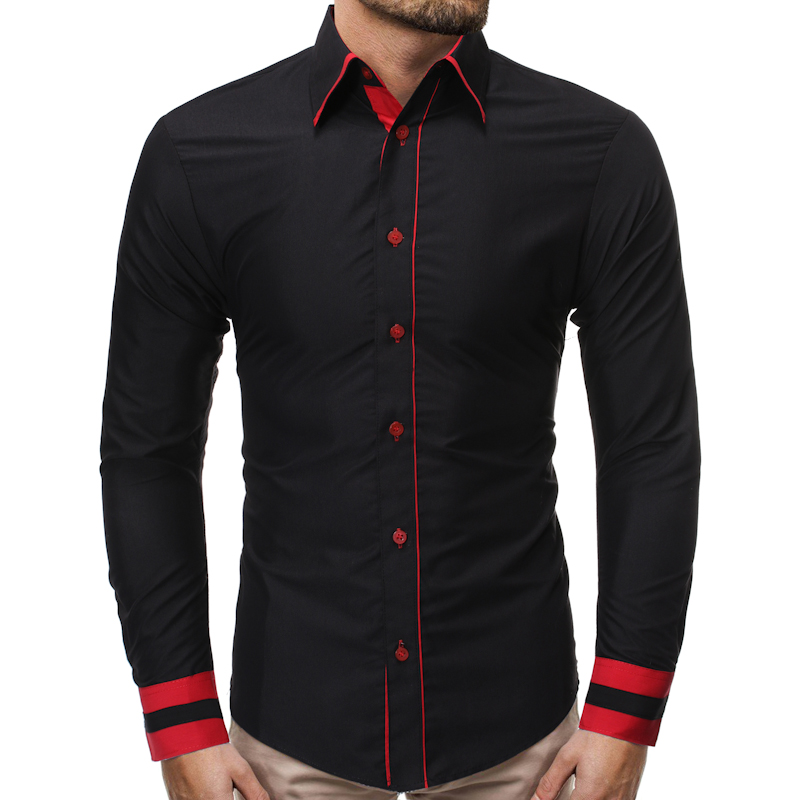 Dress Shirts Pocket Office Blouses Men Long-Sleeve Solid-Button Standcollar Casual Autumn