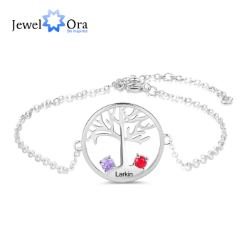 Personalized Tree of Life Engraved Bracelet with 2 Birthstones Customize Name Chain Bracelets for Women Accessories Jewelry Gift vintage engraved floral bracelet with ring for women