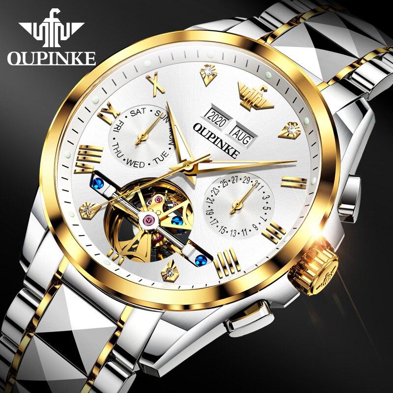 2020 Luxury Men Mechanical Wristwatch Tungsten Steel Tourbillon Watch Sapphire Glass Men Watches reloj hombre OUPINKE Brand 1