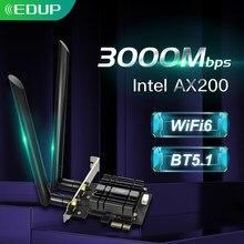 Edup 2974mbps wifi 6 pcie adaptador wi-fi sem fio bluetooth 5.1 intel ax200 banda dupla 2.4g/5ghz pci express 802.11ax wi-fi cartão