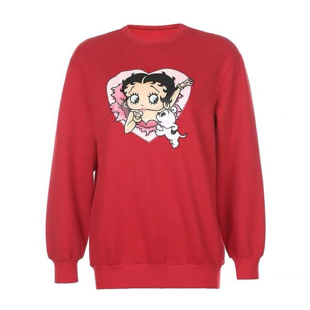 80s 90s American Vintage Cartoon Print Girl's Pullover Autumn Thick Warm Long Sleeve Hoodies Plus Size Loose Women Sweatshirts 5