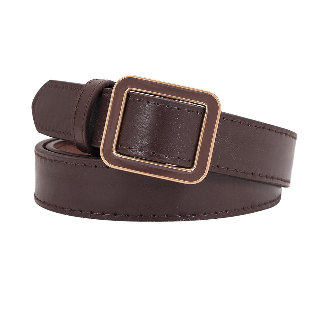 Brown Waistband Retro Durable Leather Belt Men And Women Buckle Fashion Waist Belt Narrow Stretch Dress Belt Thin  Ceinture #3
