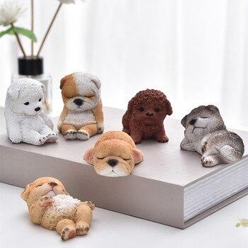 6Pcs/set Dog Art Sculpture Resin Crafts Mini Animal Bulldog Samoyed Husky Poodle Figurines Car Interior Display Decoration R4776