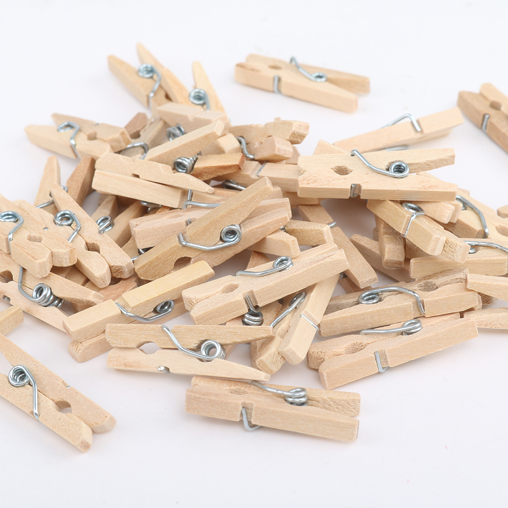 50/100/200PCS 2.5CM Mini Natural Wooden Clothes Photo Paper Clothespin Craft Clips Portable Wood Clamp